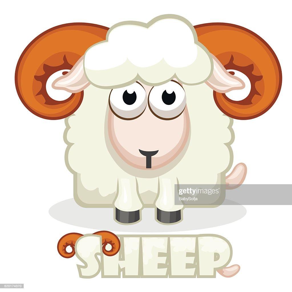 cute cartoon square Sheep