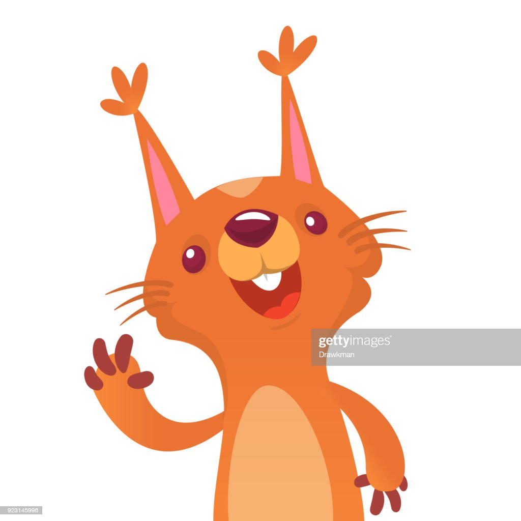 Cute cartoon squirrel presenting and waving hand. Vector illustration.