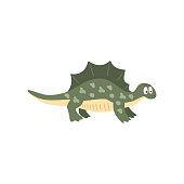 Cute cartoon stegosaurus dinosaur, prehistoric dino character vector Illustration on a white background
