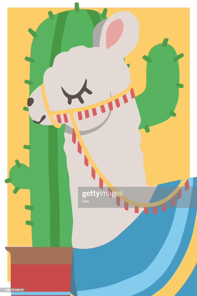 Cute cartoon style simple animal vector graphic illustration drawing of a white lama with harness and blue poncho in front of cactus