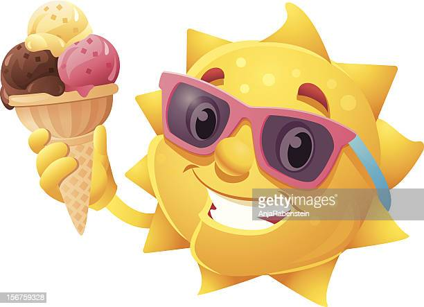 Cute Cartoon Summer Sun with Ice Cream