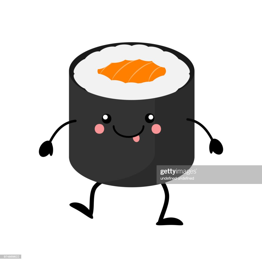 Cute cartoon sushi character. Kawai sushi. Vector illustration i