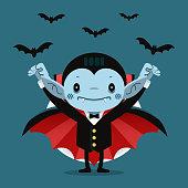 Cute cartoon tiny Dracula smiling