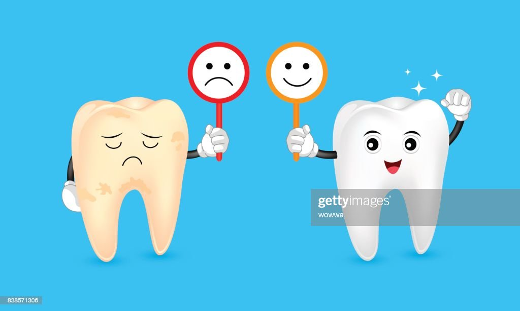 Cute cartoon tooth character holding sign of emotional face.