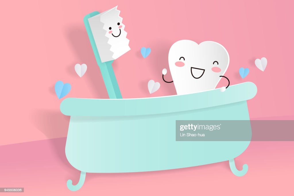 cute cartoon tooth with brush