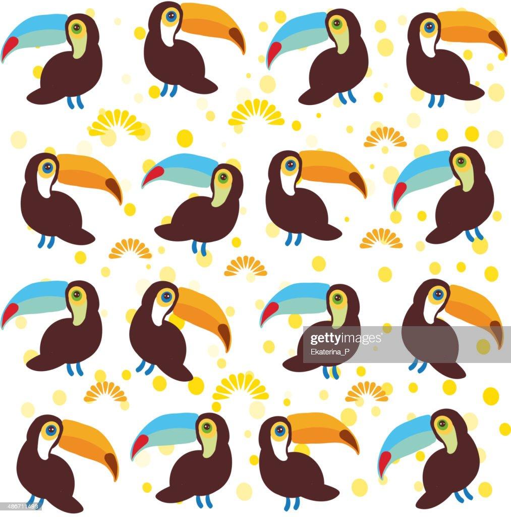 Cute Cartoon toucan birds set on white background. Vector