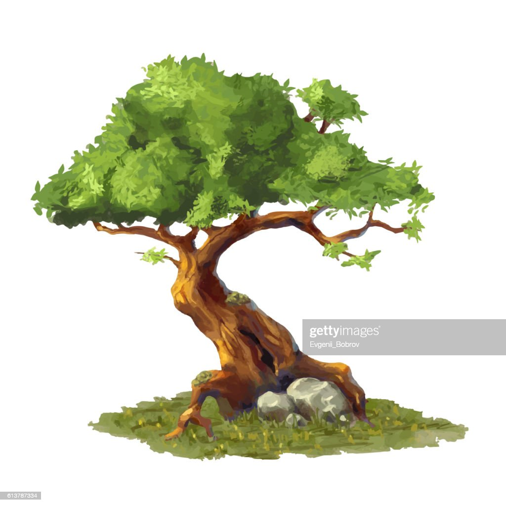 Cute cartoon tree on grass, game art element