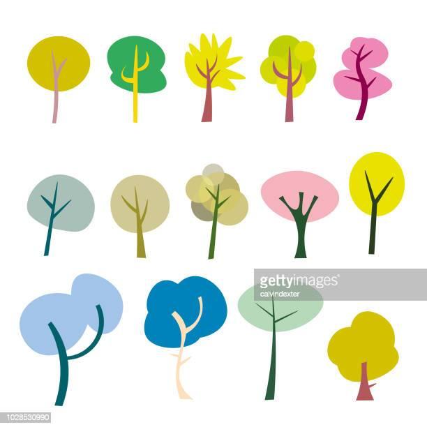 Niedlichen Cartoon Bäume Sammlung
