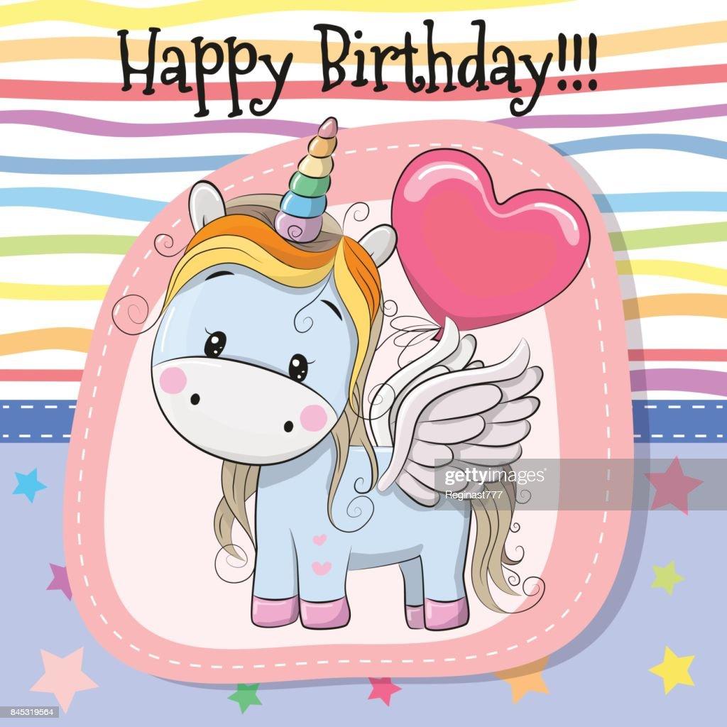 Cute Cartoon Unicorn with balloon