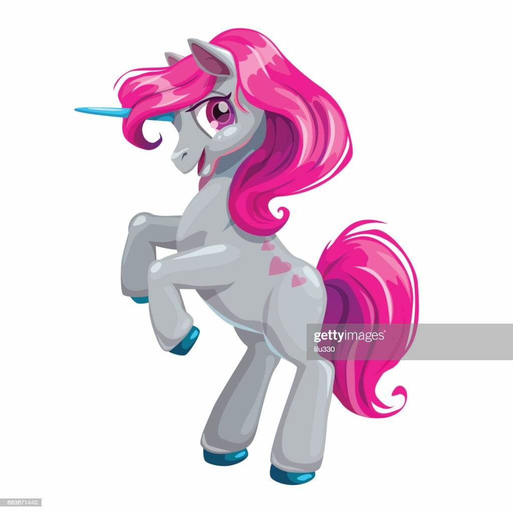 Cute cartoon unicorn with pink hair