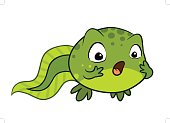 Cute cartoon vector baby tadpole looking surprised. OMG, Wow face expression