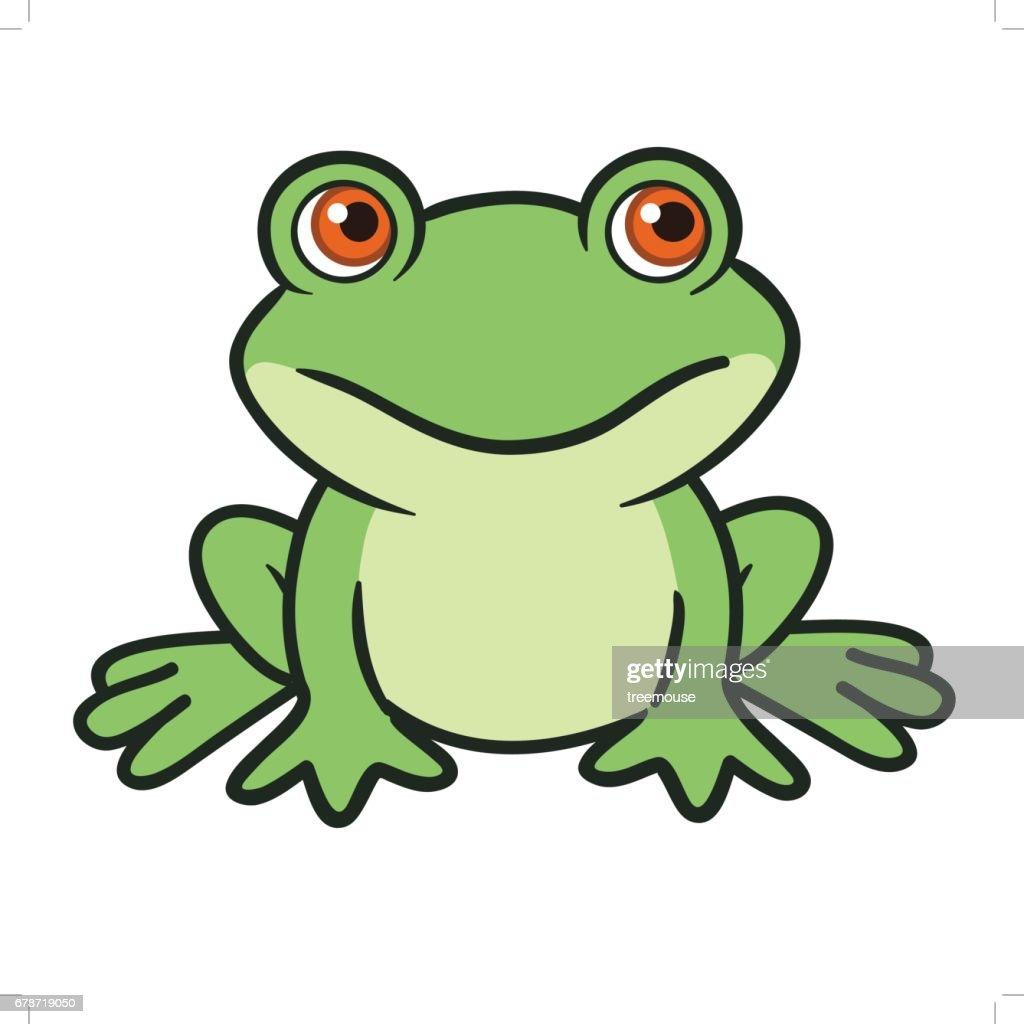 Cute cartoon vector frog
