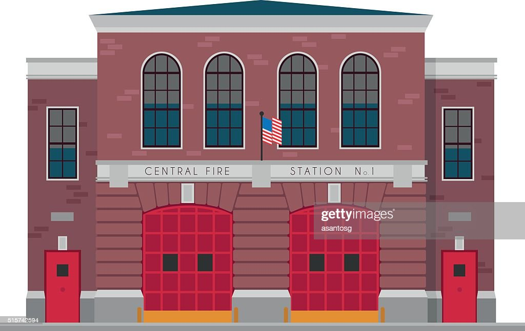 Cute cartoon vector illustration of a fire station