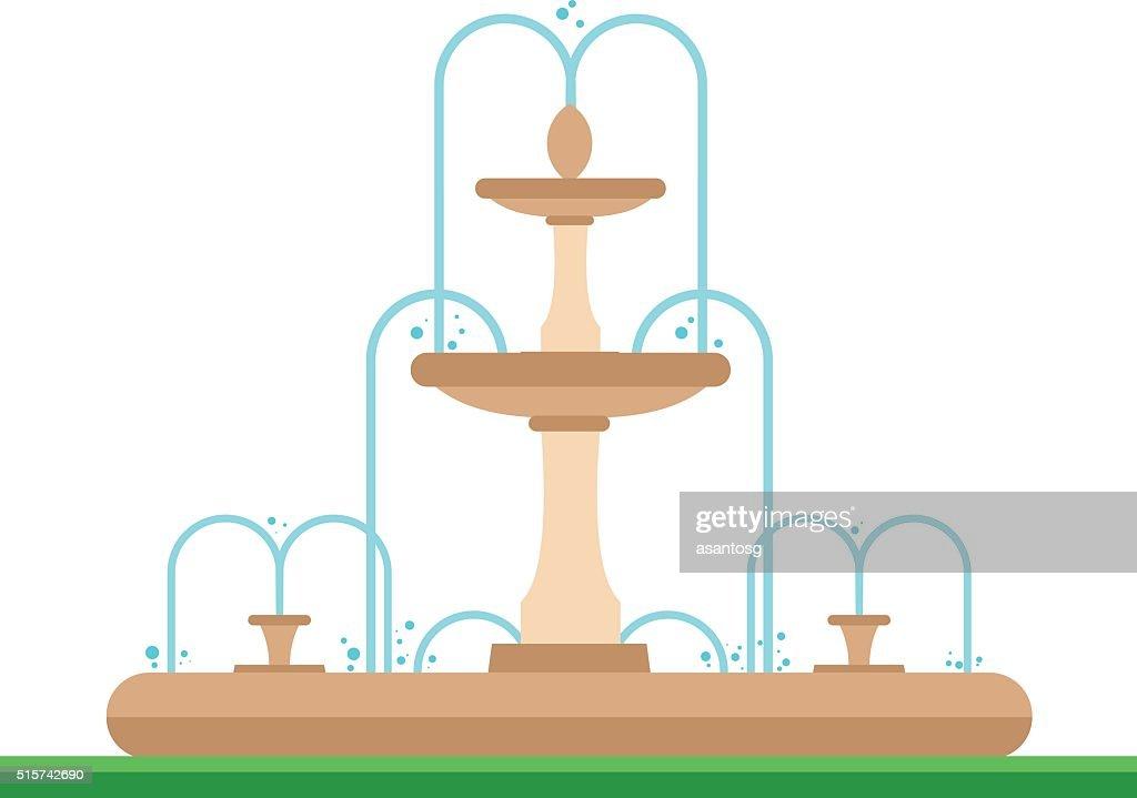 Cute cartoon vector illustration of a fountain in the park