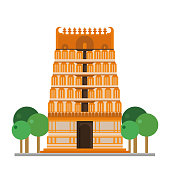 Cute cartoon vector illustration of a Hinduist Temple