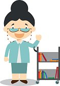 Cute cartoon vector illustration of a librarian