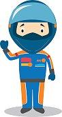 Cute cartoon vector illustration of a race pilot
