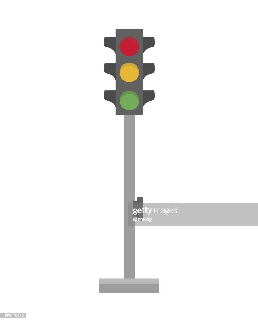 Cute cartoon vector illustration of a traffic light