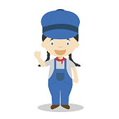 Cute cartoon vector illustration of an engine. Women Professions Series