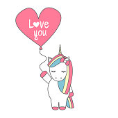 cute cartoon vector unicorn with balloon with hand drawn lettering love you text