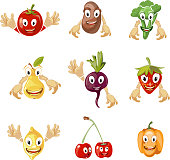 Cute cartoon vegetables and fruit vector collection in comic style