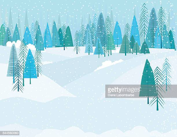 cute cartoon winter forest in a snowstrom - blizzard stock illustrations