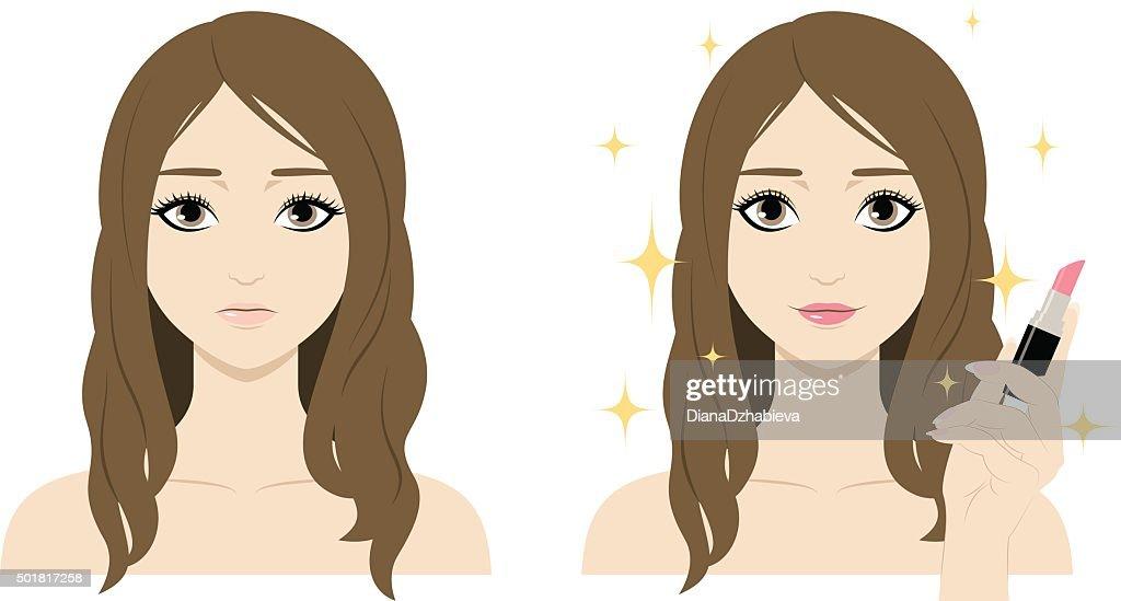 Cute cartoon woman with lipstick