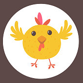 Cute cartoon yellow chicken blinking eye. Farm animals. Vector illustration of a cute chicken. Mock up for print decoration isolated on white