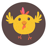 Cute cartoon yellow chicken. Farm animals. Vector illustration of a cute chicken. Mock up for print decoration isolated on white
