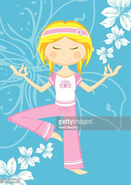 cute cartoon yoga girl & flowers - standing on one leg stock illustrations, clip art, cartoons, & icons
