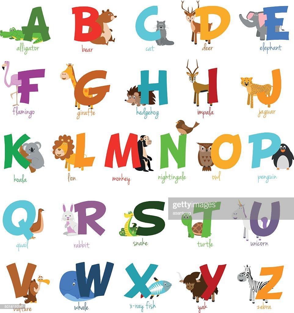 Cute cartoon zoo illustrated alphabet with funny animals. English alphabet.
