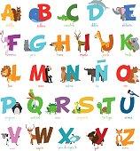 Cute cartoon zoo illustrated alphabet with funny animals. Spanish alphabet