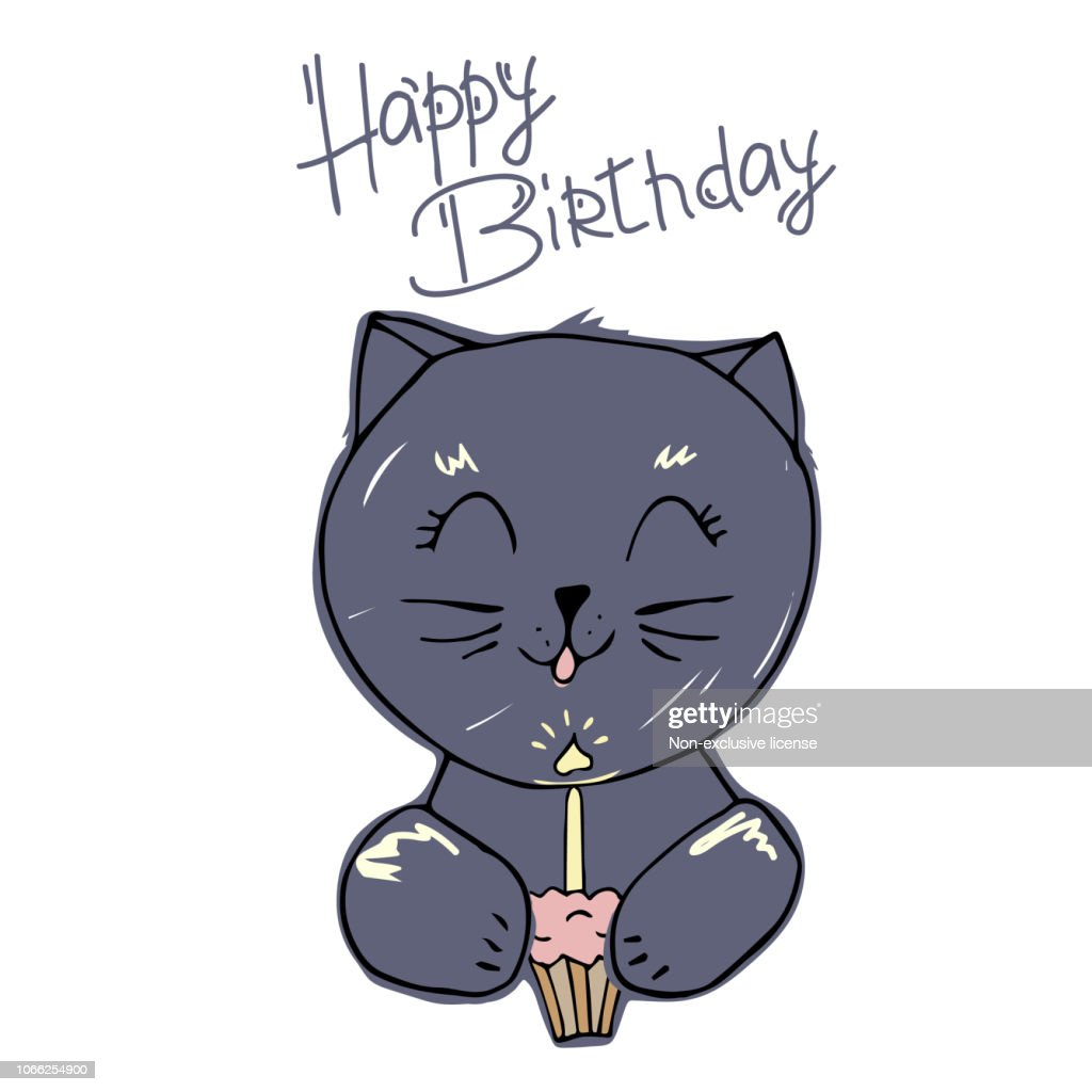 Cute cat blows out the candle on the cupcake. creative cards templates with Happy birthday theme design. Hand Drawn card for birthday, anniversary, party invitations, scrapbooking. Vector illustration.Isolated on white background.