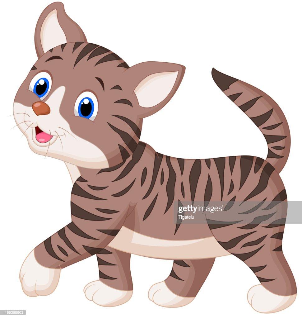 Cute cat cartoon walking