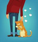 Cute cat character hug his owner. Vector flat cartoon illustration