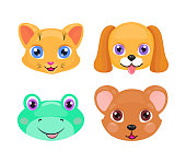 Cute cat, dog, frog and bear face or mask set isolated on white background. Cartoon baby cub collection with bright eyes, smiling and kind. Cheerful children doodle vector design for t-shirt.
