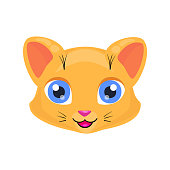 Cute cat face or mask isolated on white background. Cartoon kitty with bright eyes, smiling and kind. Cheerful children doodle vector design for t-shirt.