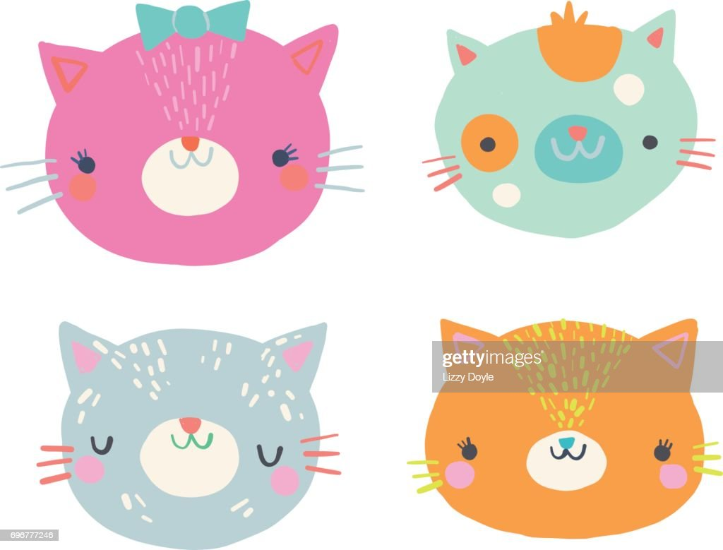 Cute Cat Faces Clip Art Illustration Set