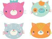 Cute Cat Faces Clip Art Illustration Set