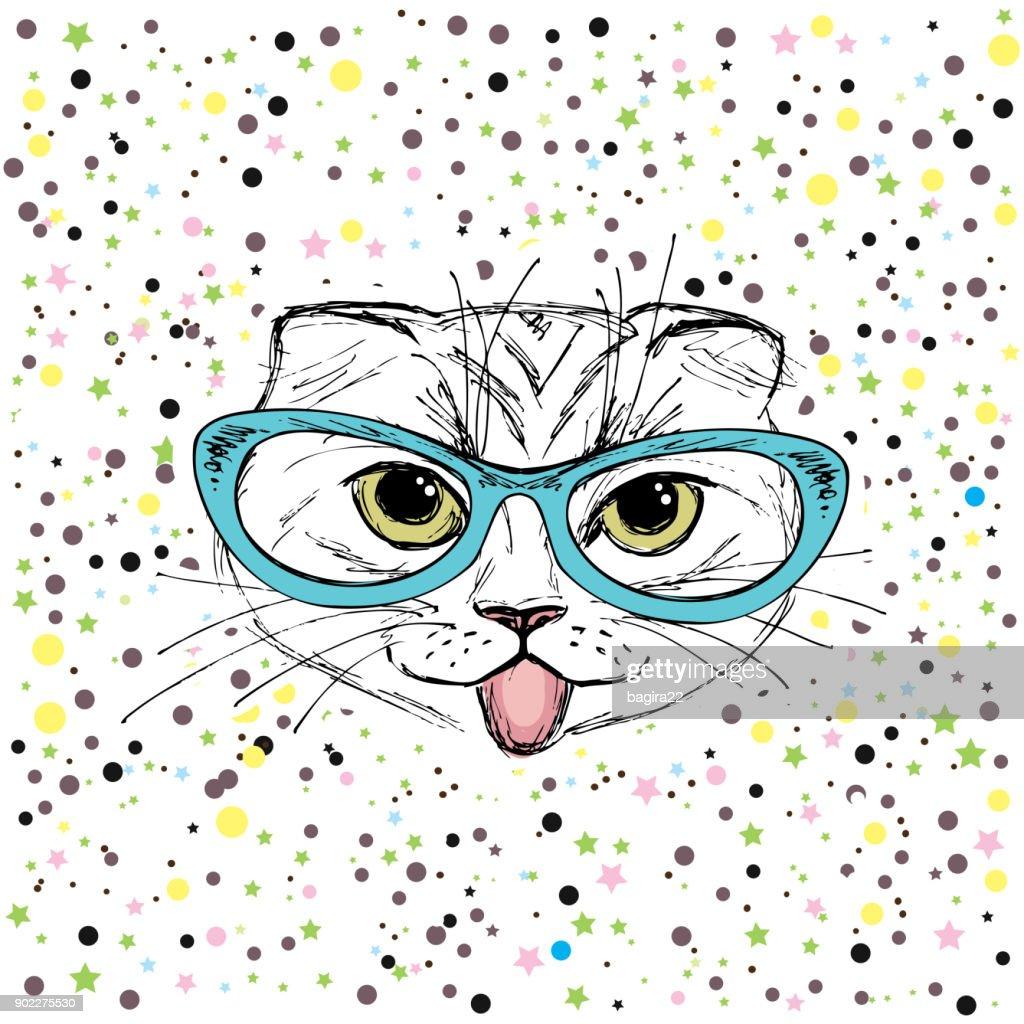 Cute cat, Hand drawn  T-shirt design or greeting card.