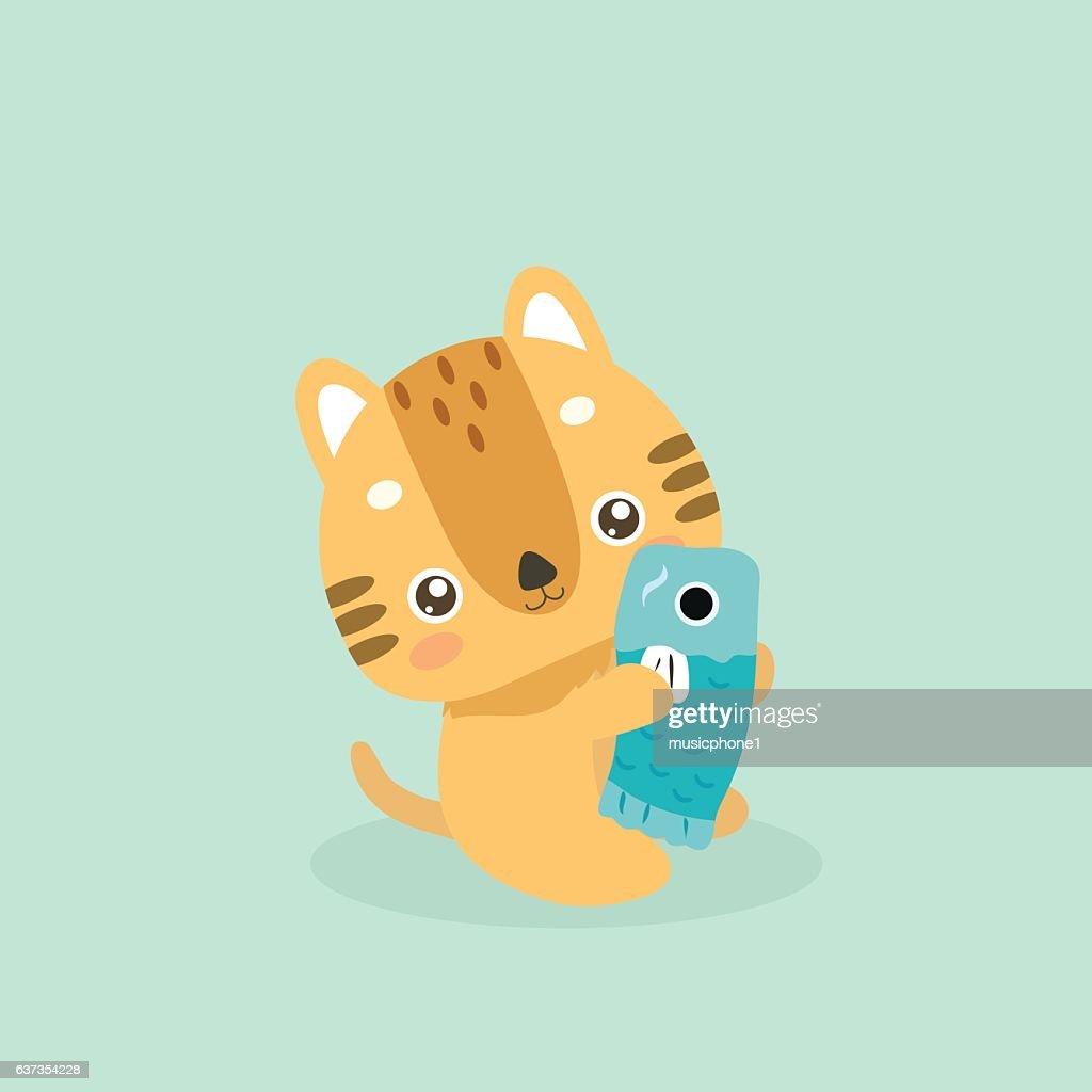 Cute cat illustration.