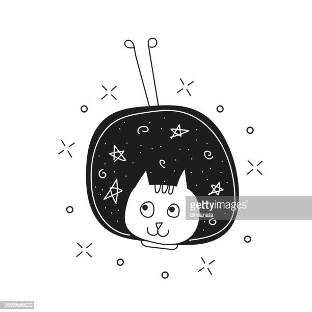 Süße Katze im Raum drucken. Kindisch Vektor-Illustration im Doodle-Stil für Kinder
