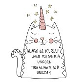 cute cat unicorn, with motif  for T shirt,  postcard