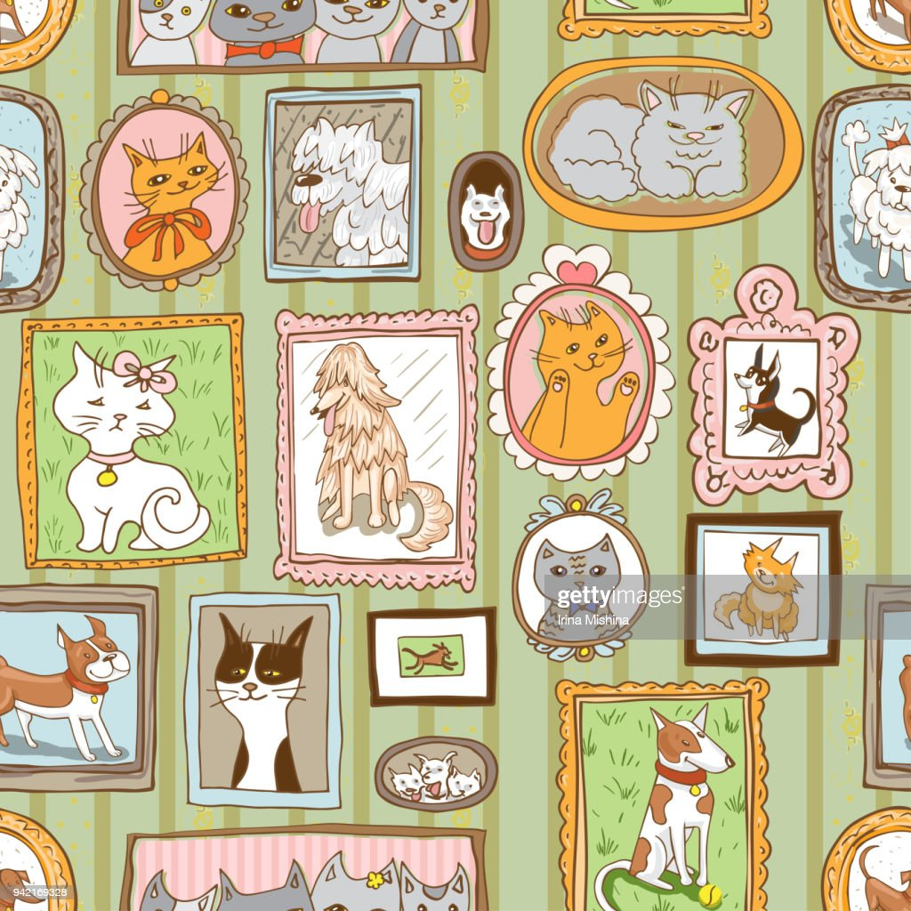 cute cats and dogs retro portraits seamless pattern. pets vector background