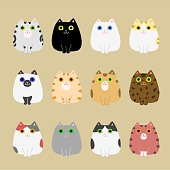 cute cats coloring variations