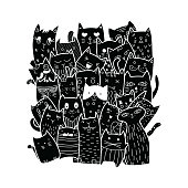 Cute cats, doodle style.