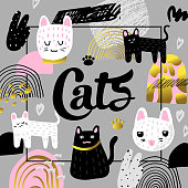 Cute Cats Hand Drawn Design. Childish Background with Kitten and Abstract Elements. Baby Freehand Composition for Covers, Decor. Vector illustration