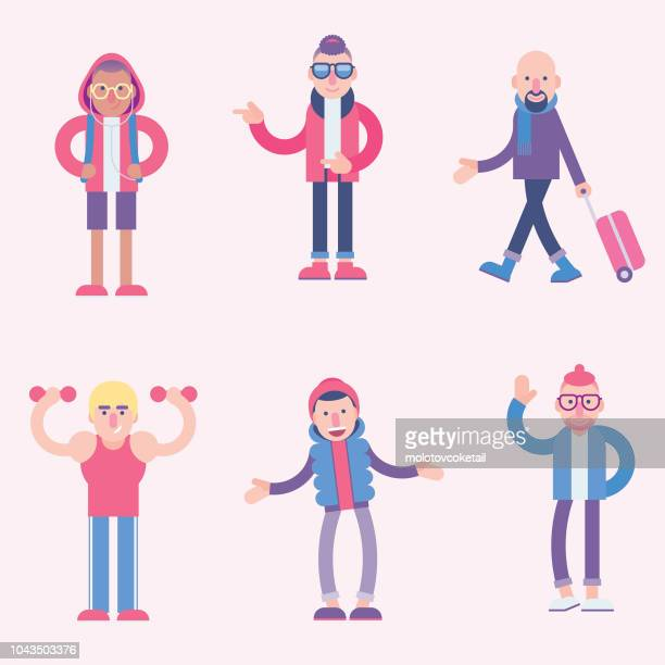 cute character illustration set - characters stock illustrations