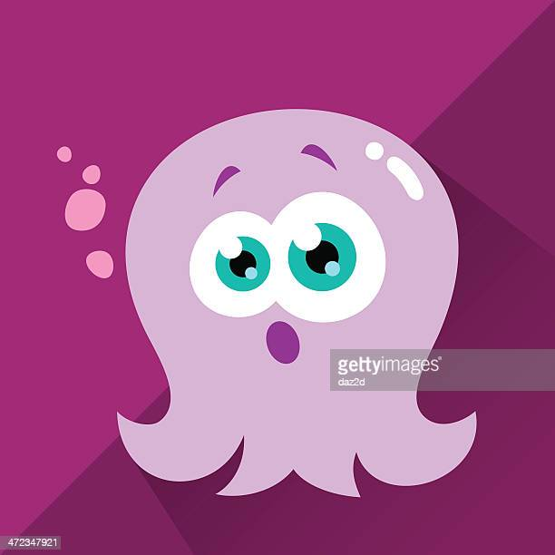 cute character - octo - gasping stock illustrations, clip art, cartoons, & icons