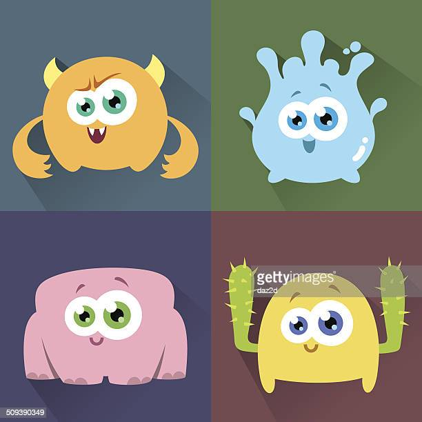 cute character set one - monster fictional character stock illustrations